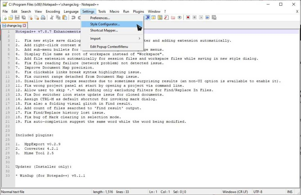 Step 1: Change text size in notepad++