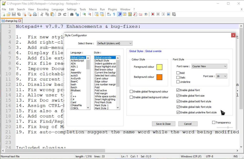 Step 2: Change text size in notepad++
