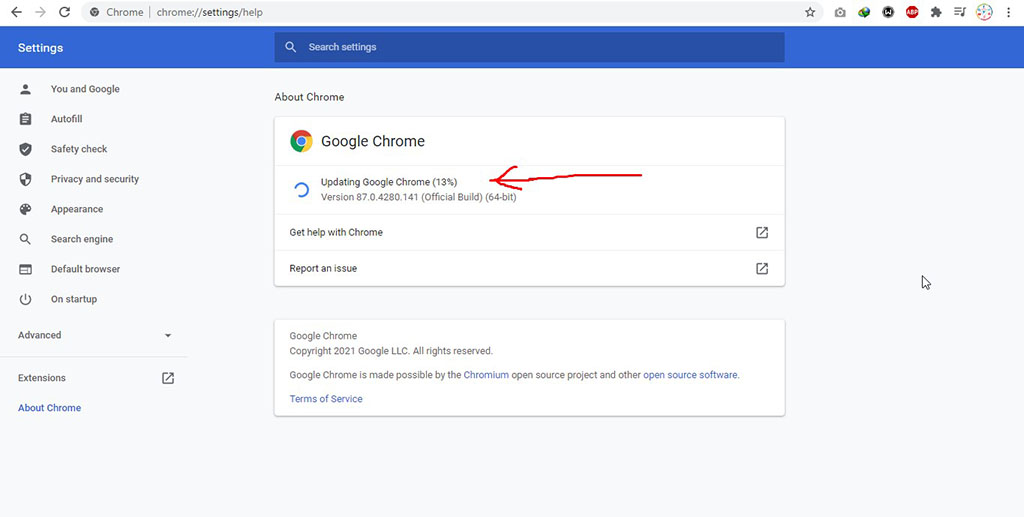 Update Google Chrome to the latest version
