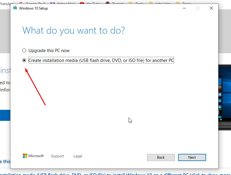 Create installation media for another PC to download Windows 10 ISO