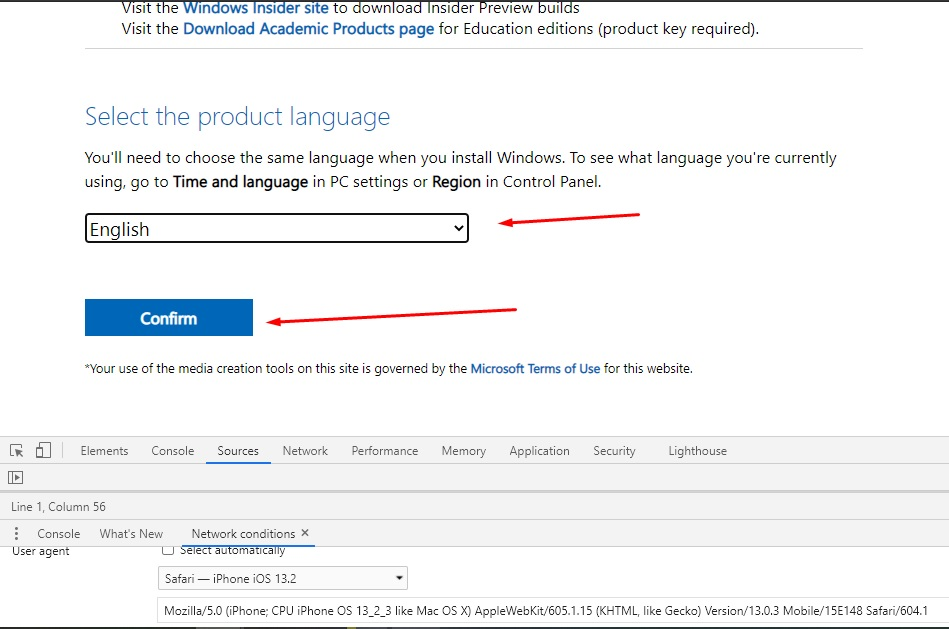Select your preferred language and click the Confirm button to download Windows 10 ISO