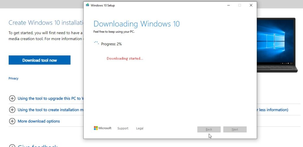 start your download Windows 10 ISO